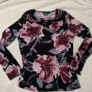 Floral drape front long sleeve top Large *EUC*